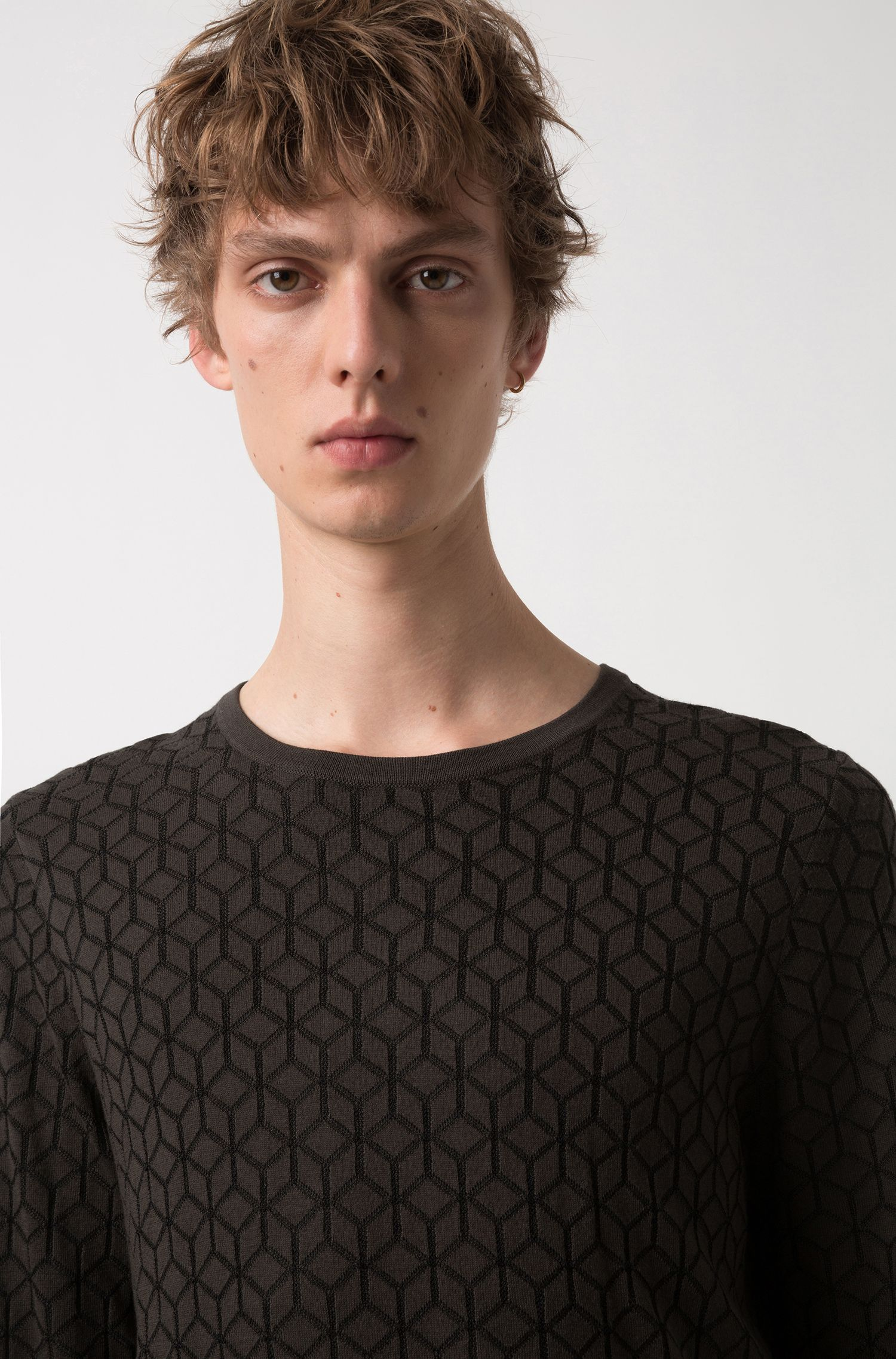 Slim-fit sweater in knitted jacquard with geometric pattern, Dark Green
