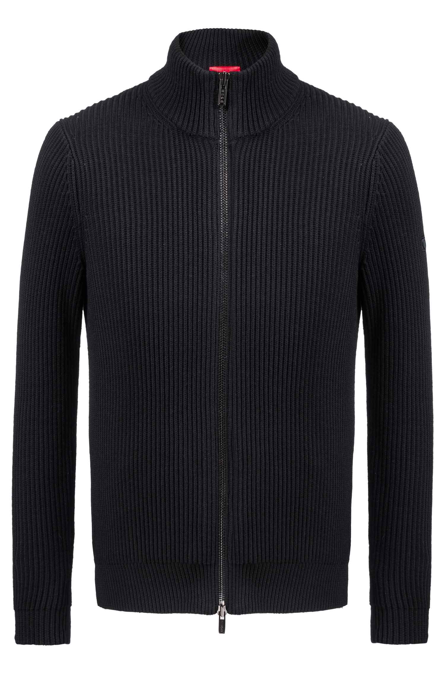 Zippered knitted jacket in a wool-cotton blend, Black