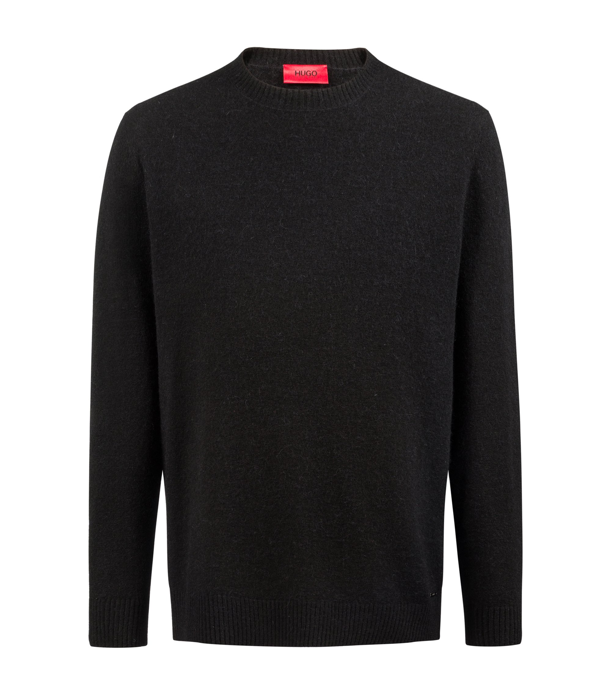 Oversized-fit jersey sweater blended with wool and alpaca, Black