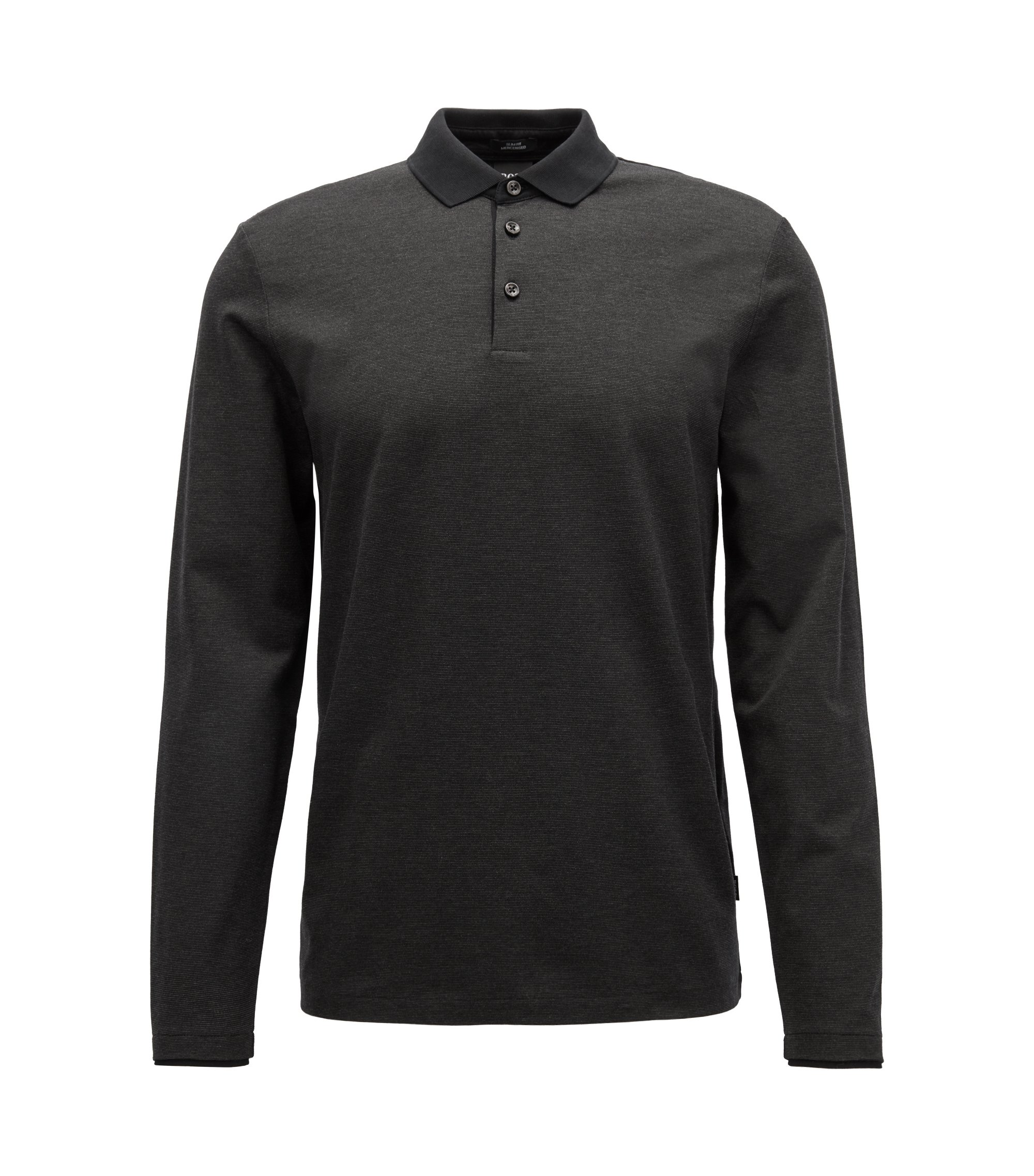 Long-sleeved polo shirt in finely striped mercerized cotton, Black