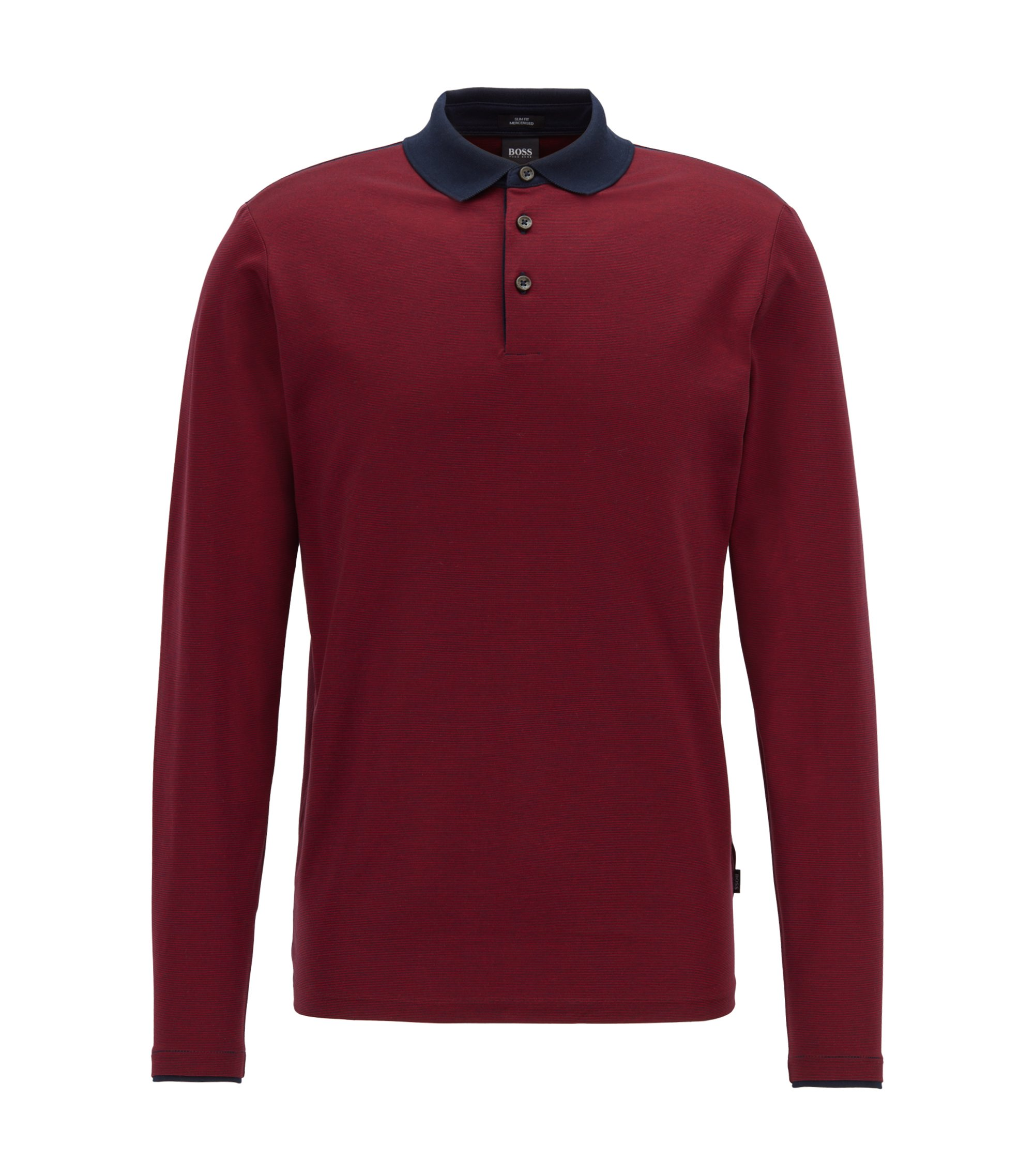 Long-sleeved polo shirt in finely striped mercerized cotton, Dark Red