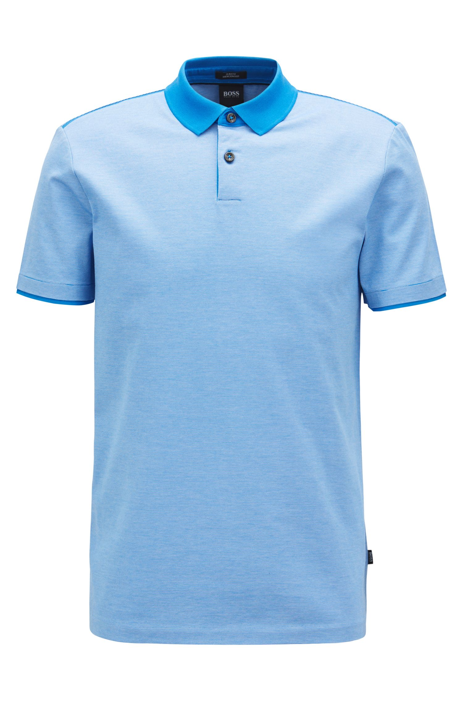 Slim-fit polo shirt in mercerized cotton, Blue
