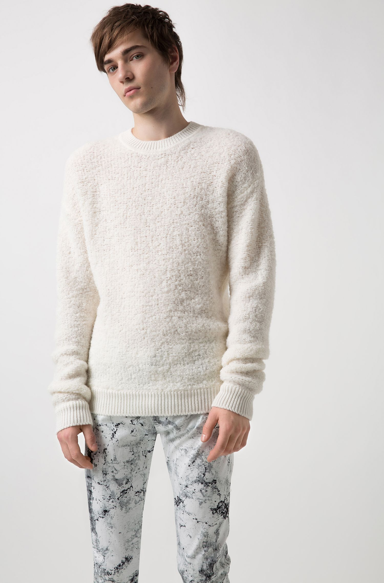 Oversized shearling-effect bouclé sweater with chunky ribbing, Open White