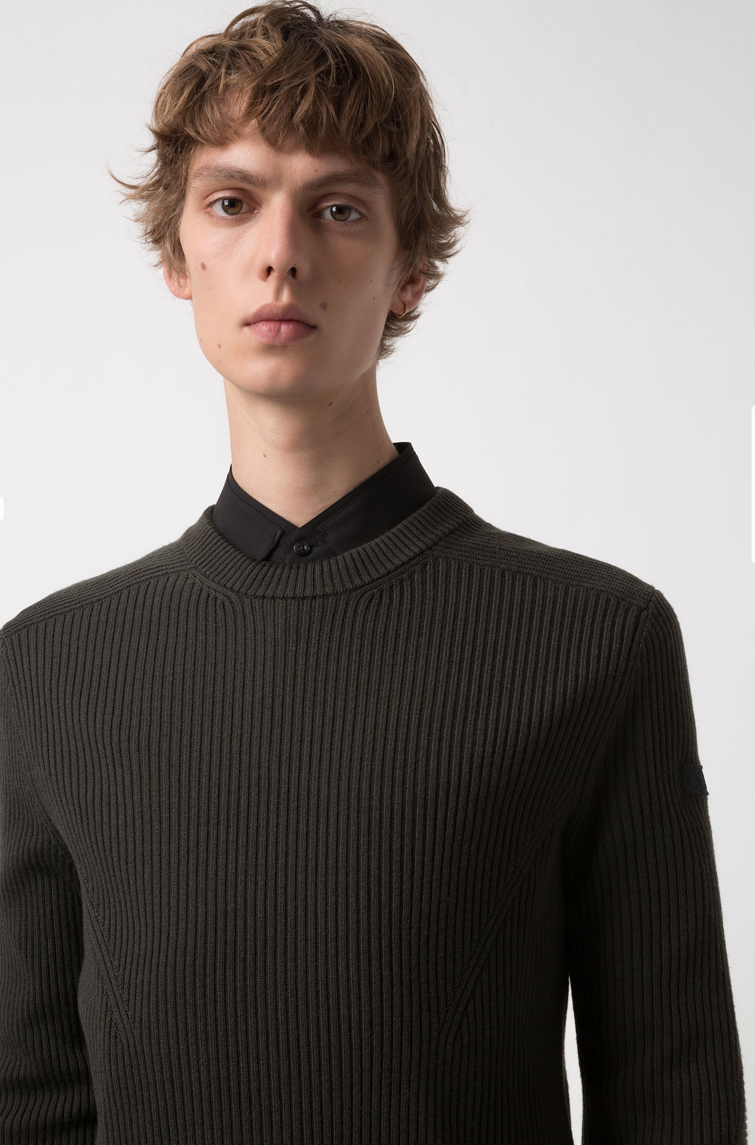 Extra-slim-fit virgin-wool sweater with military detail, Dark Green
