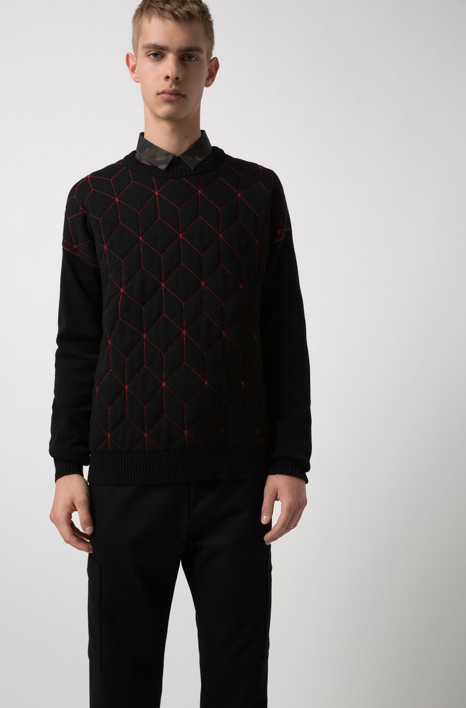 Oversized-fit sweater in virgin wool with geometric pattern, Red