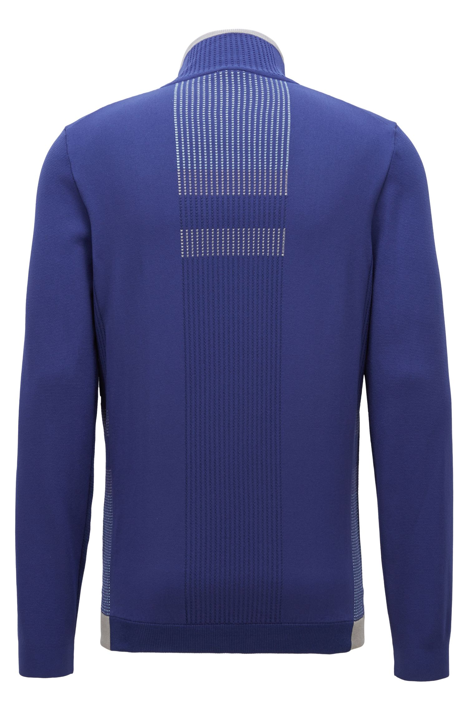 Color-block sweater in stretch fabric with zippered neck