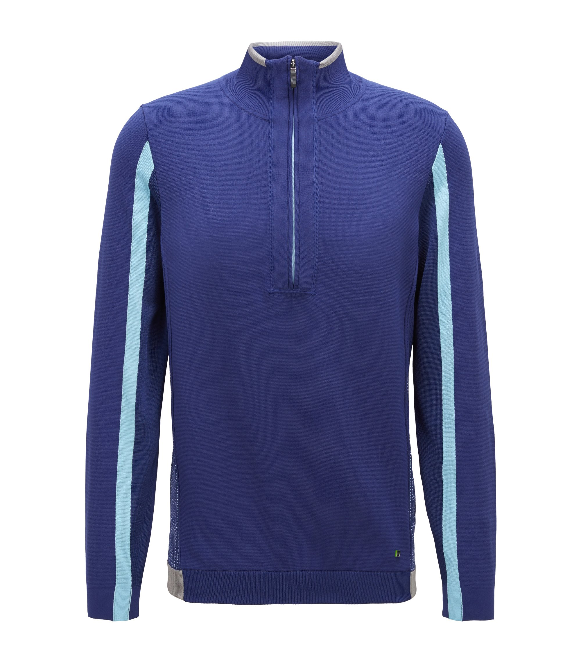 Color-block sweater in stretch fabric with zippered neck, Dark Blue