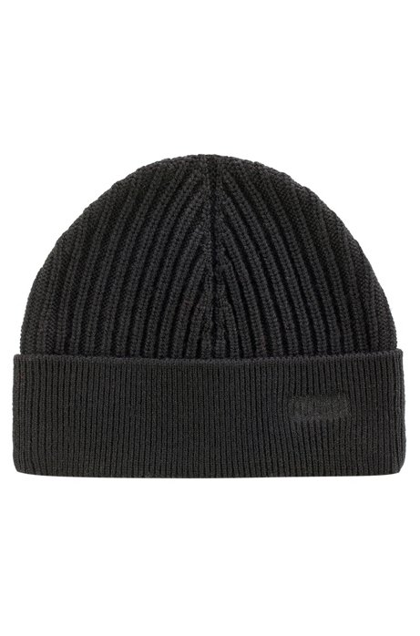 8fd45eab375 HUGO - Ribbed merino-wool beanie hat with logo embroidery