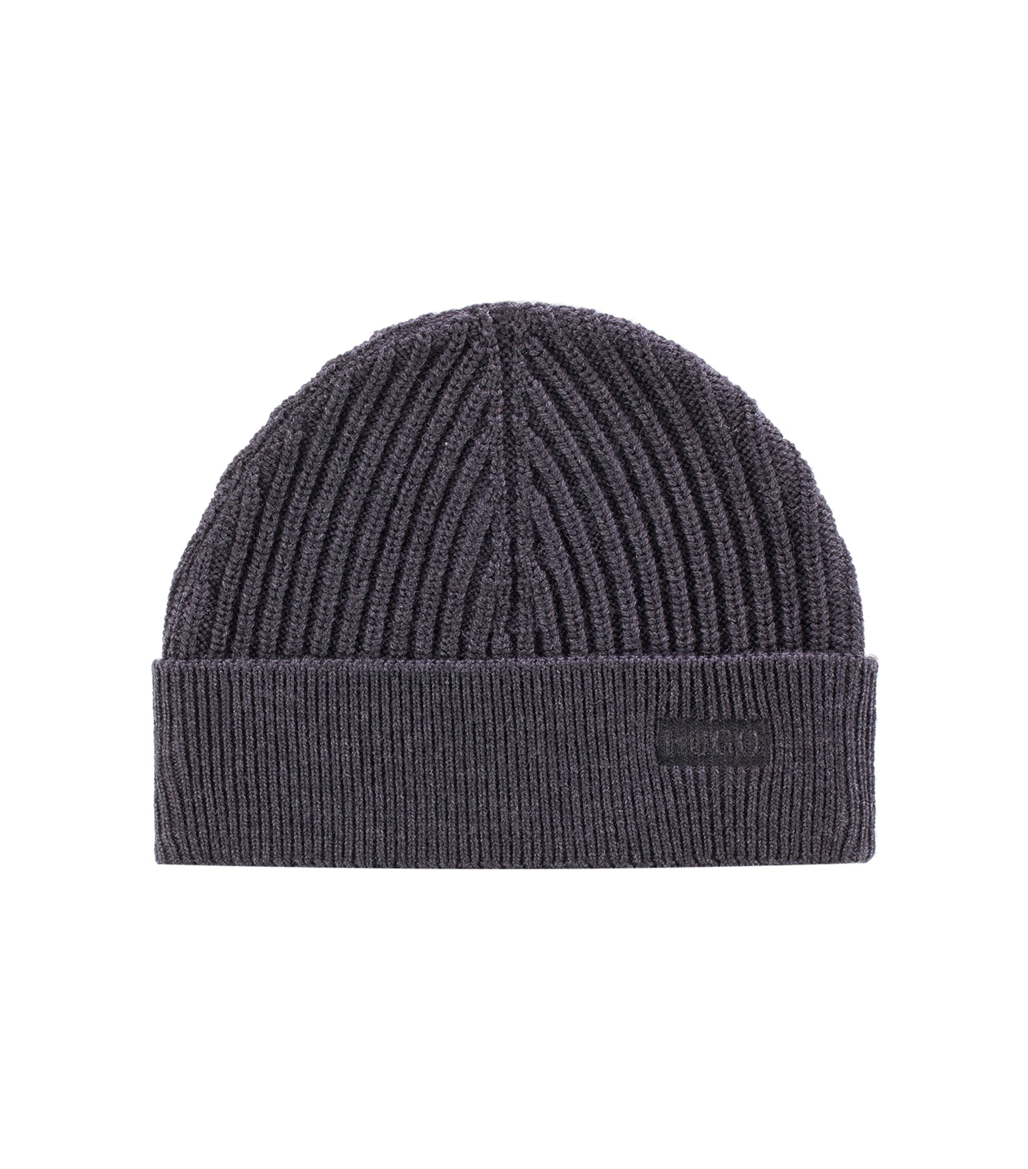 Ribbed merino-wool beanie hat with logo embroidery, Charcoal