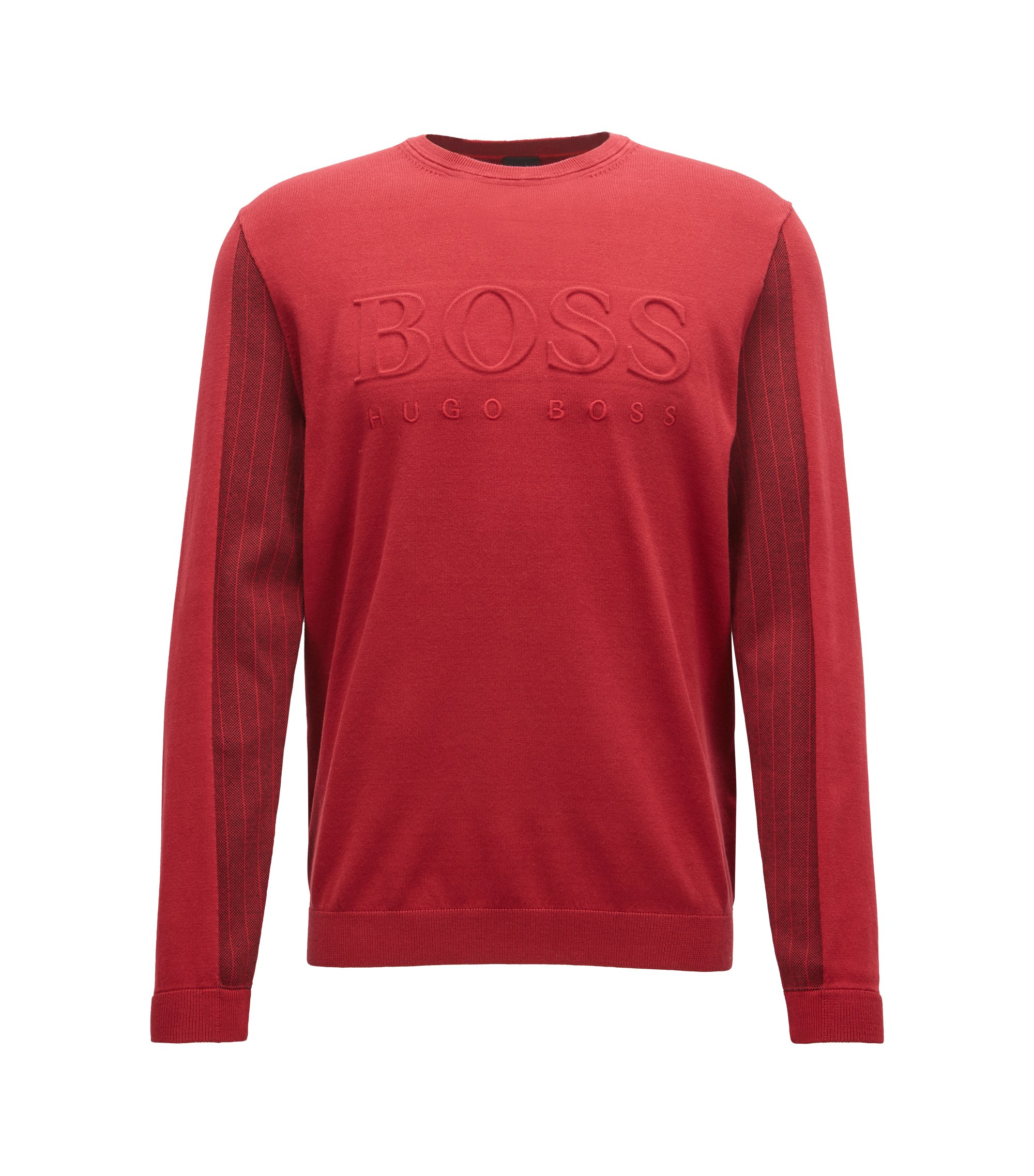 Crew-neck sweater with embossed logo and tonal details, Dark Red