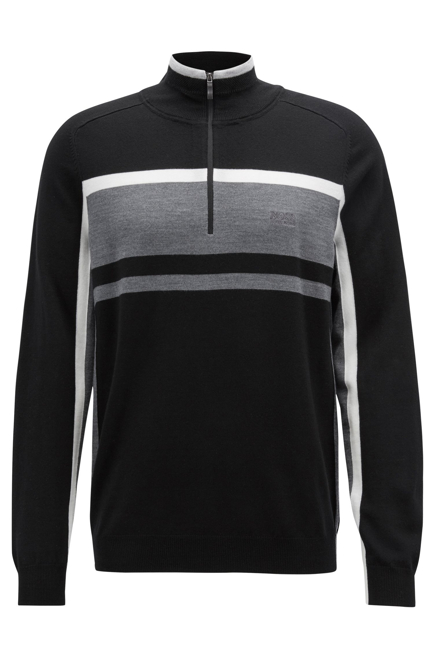 Color-block sweater in virgin wool with zippered neck, Black