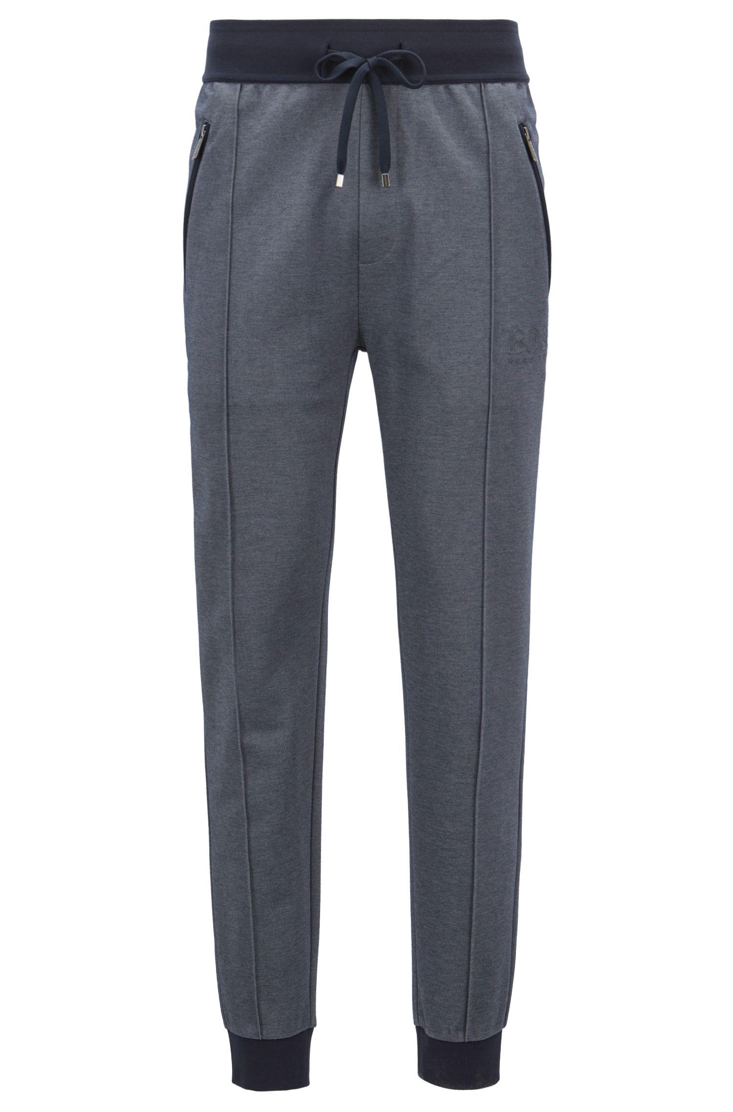 Loungewear pants in bicolored cotton-blend piqué, Dark Blue