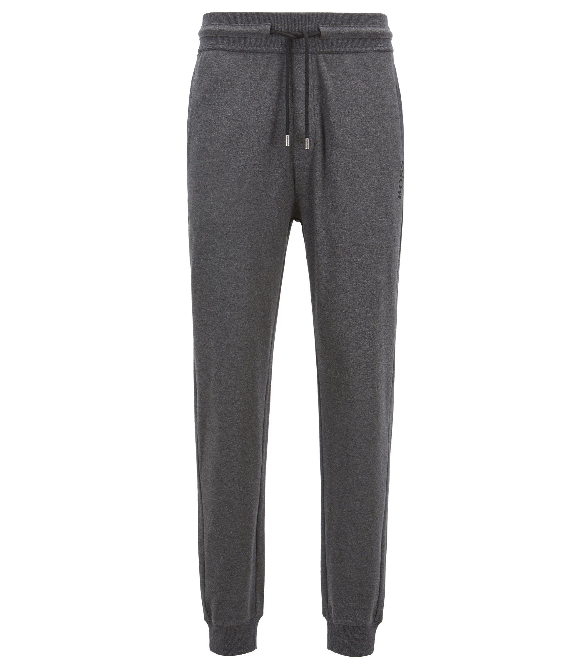 Regular-rise loungewear bottoms in cotton with drawstring waist, Grey
