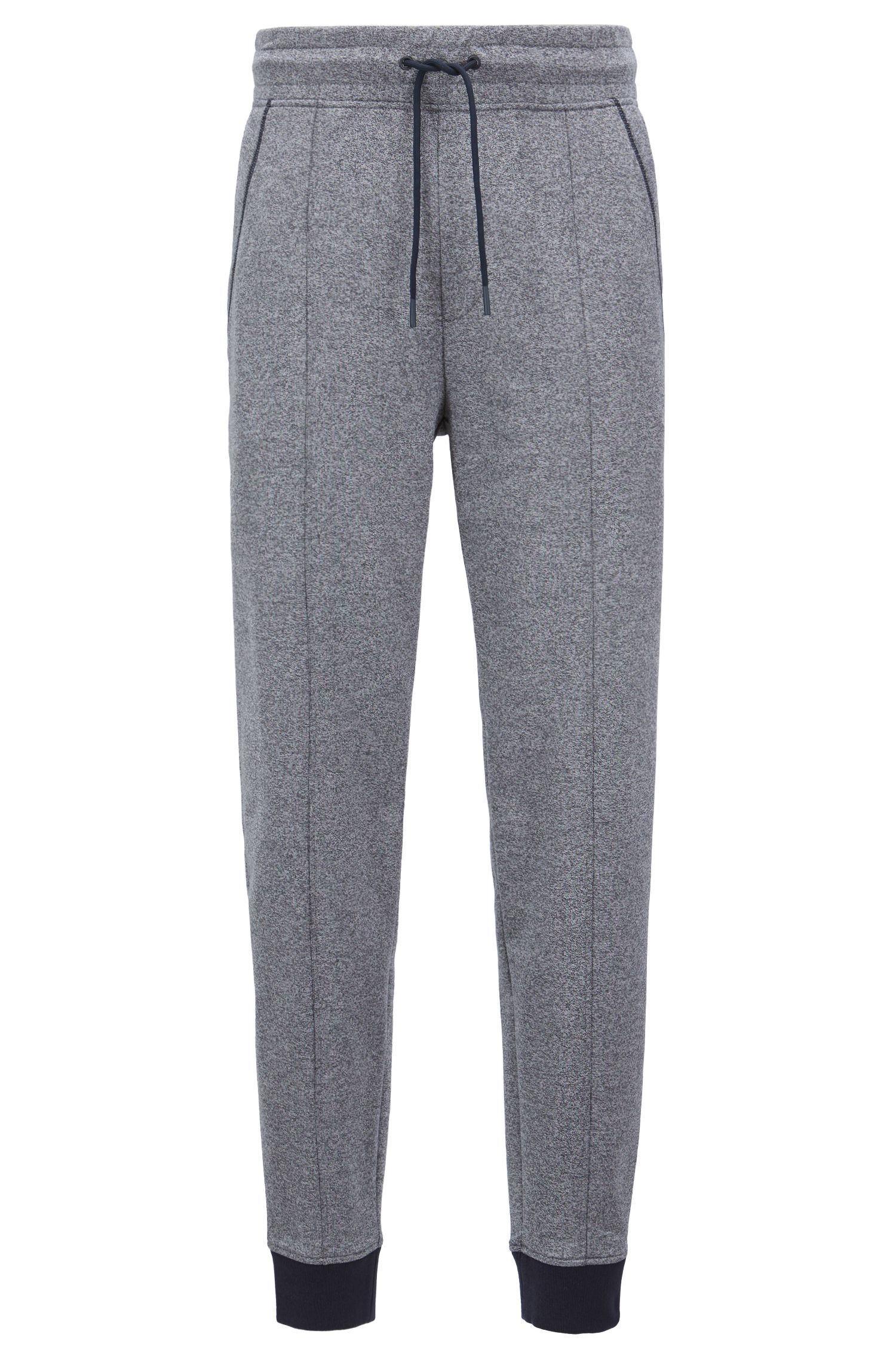 Drawstring-waist loungewear pants in two-color cotton terry, Grey