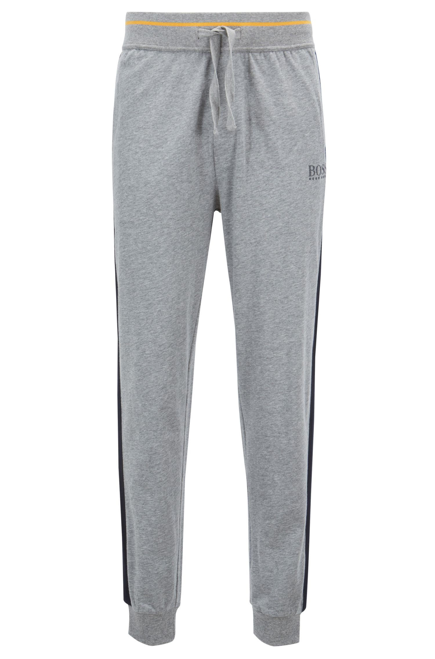 Loungewear pants in pure cotton with contrast stripe detail, Grey