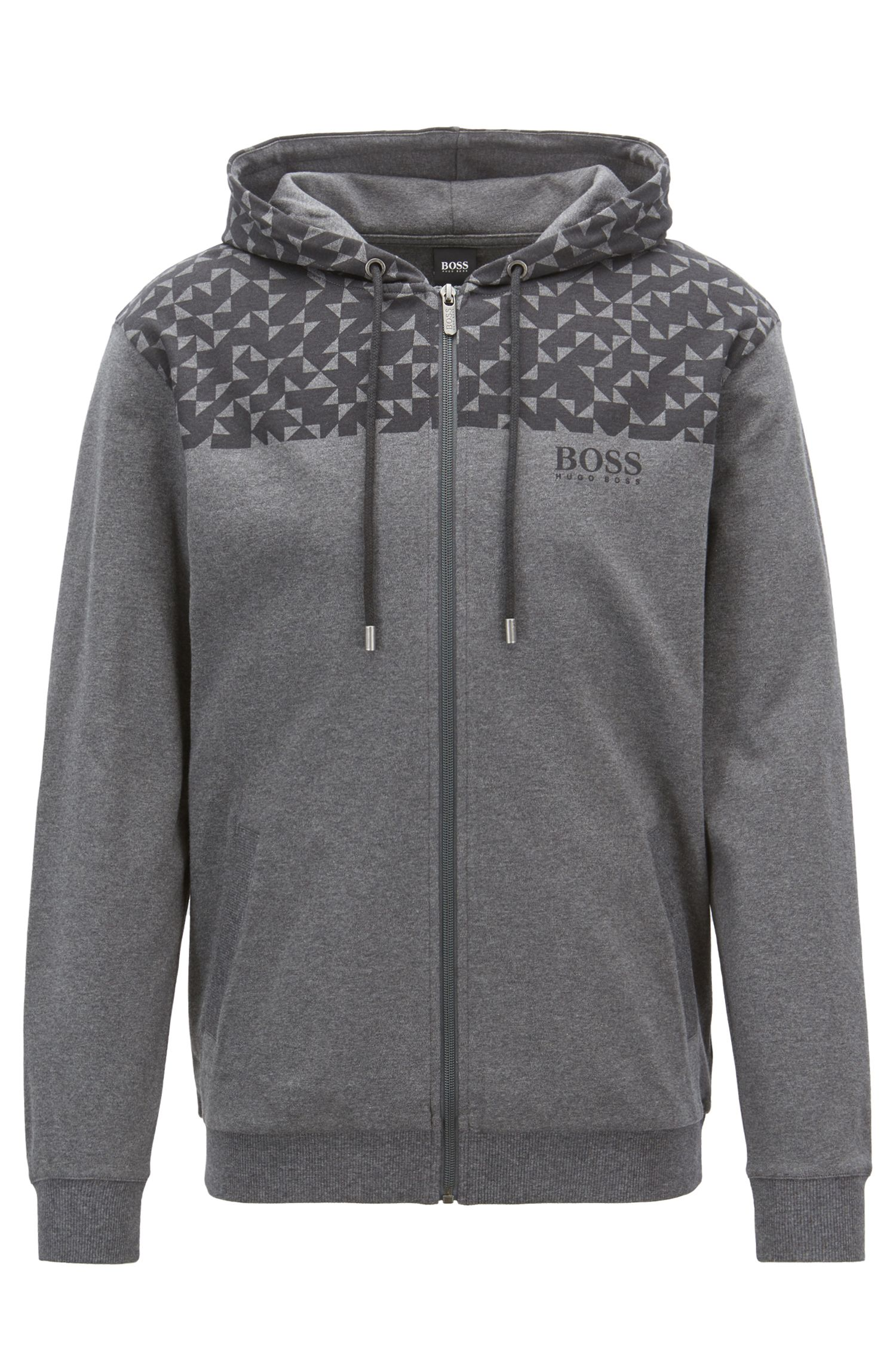 Regular-fit loungewear jacket with Anni Albers-inspired print, Grey