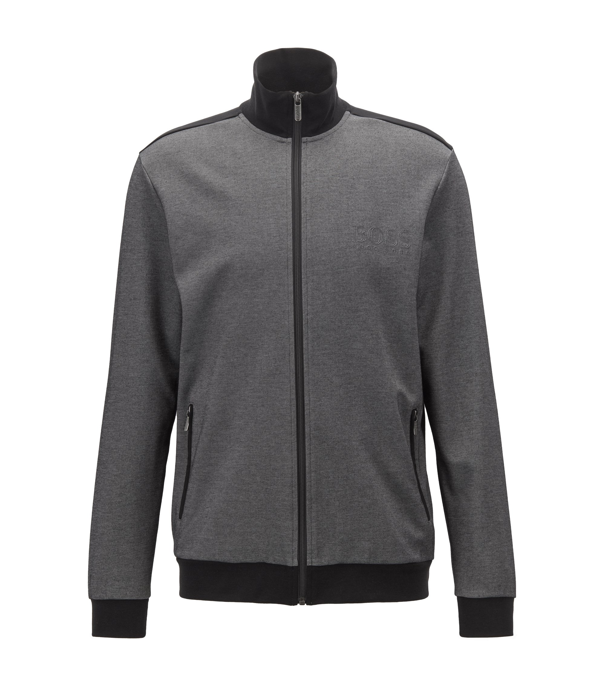 Zippered loungewear jacket in two-colored piqué, Black