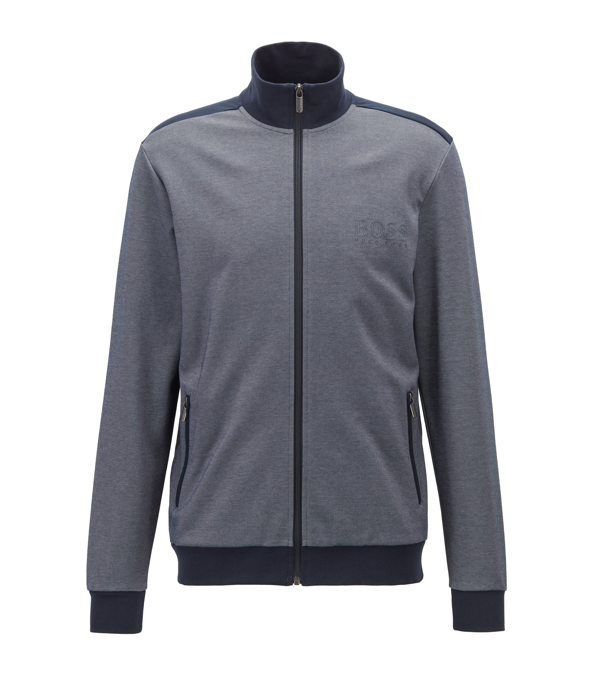 Zippered loungewear jacket in two-colored piqué, Dark Blue