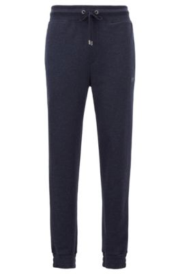 Loungewear bottoms in a cotton blend with cashmere, Dark Blue