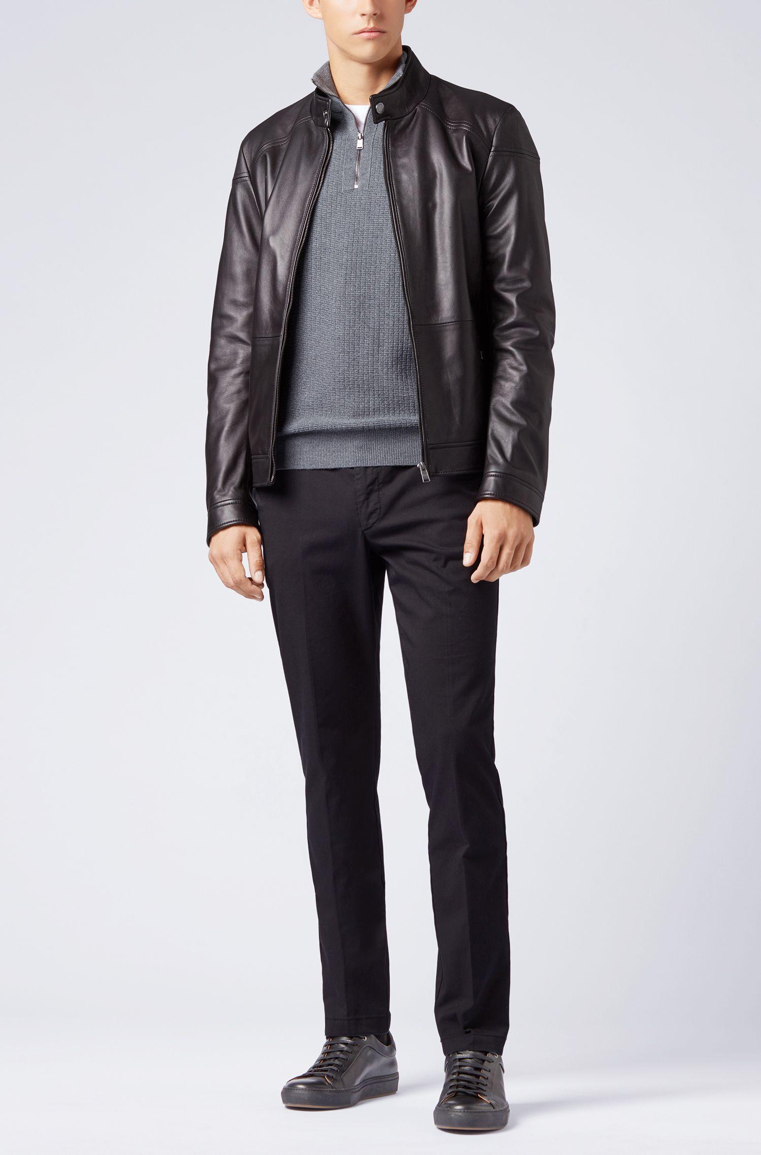 Zipper-neck sweater in Italian merino wool, Grey