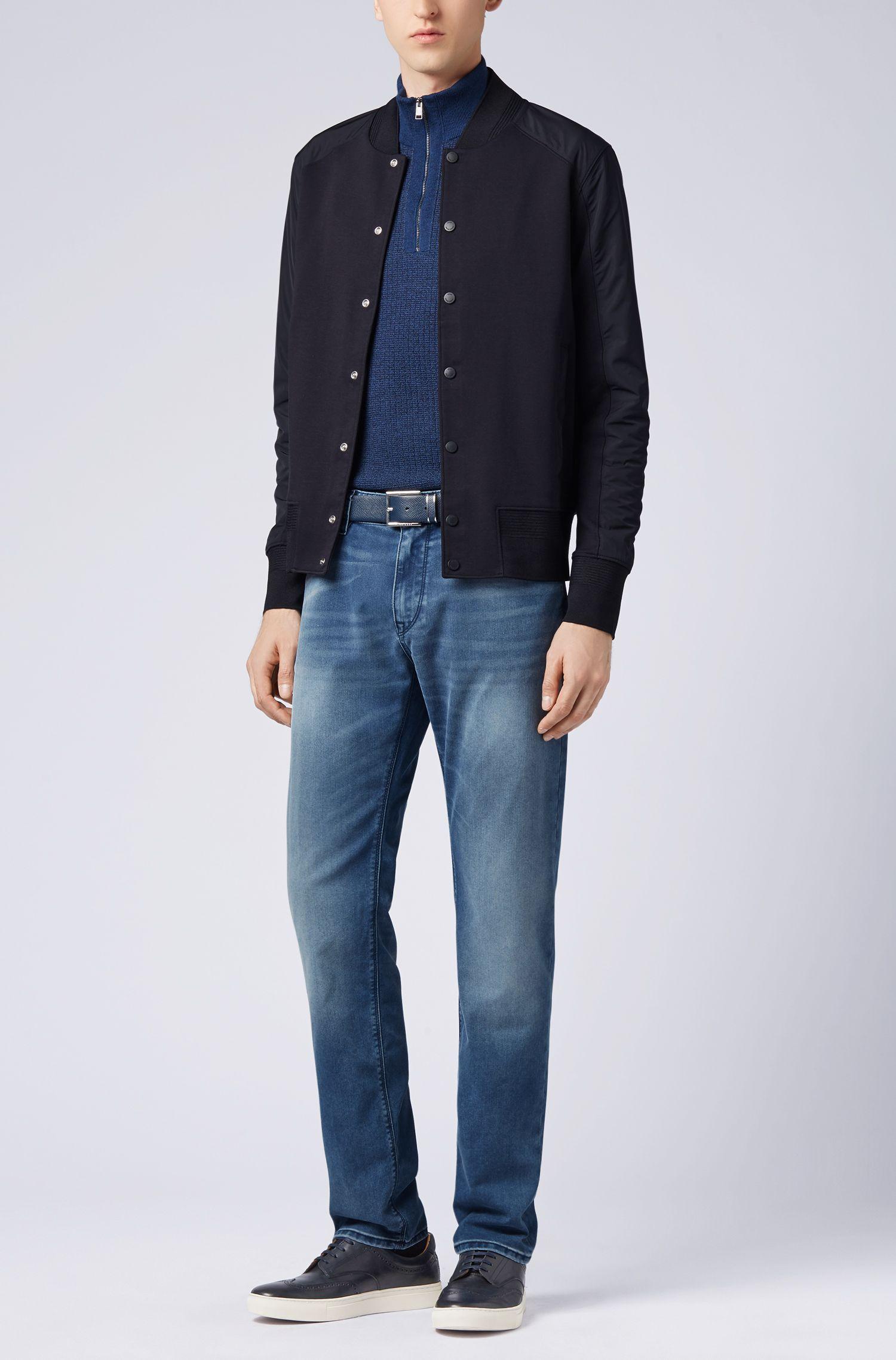 Zipper-neck sweater in Italian merino wool, Open Blue