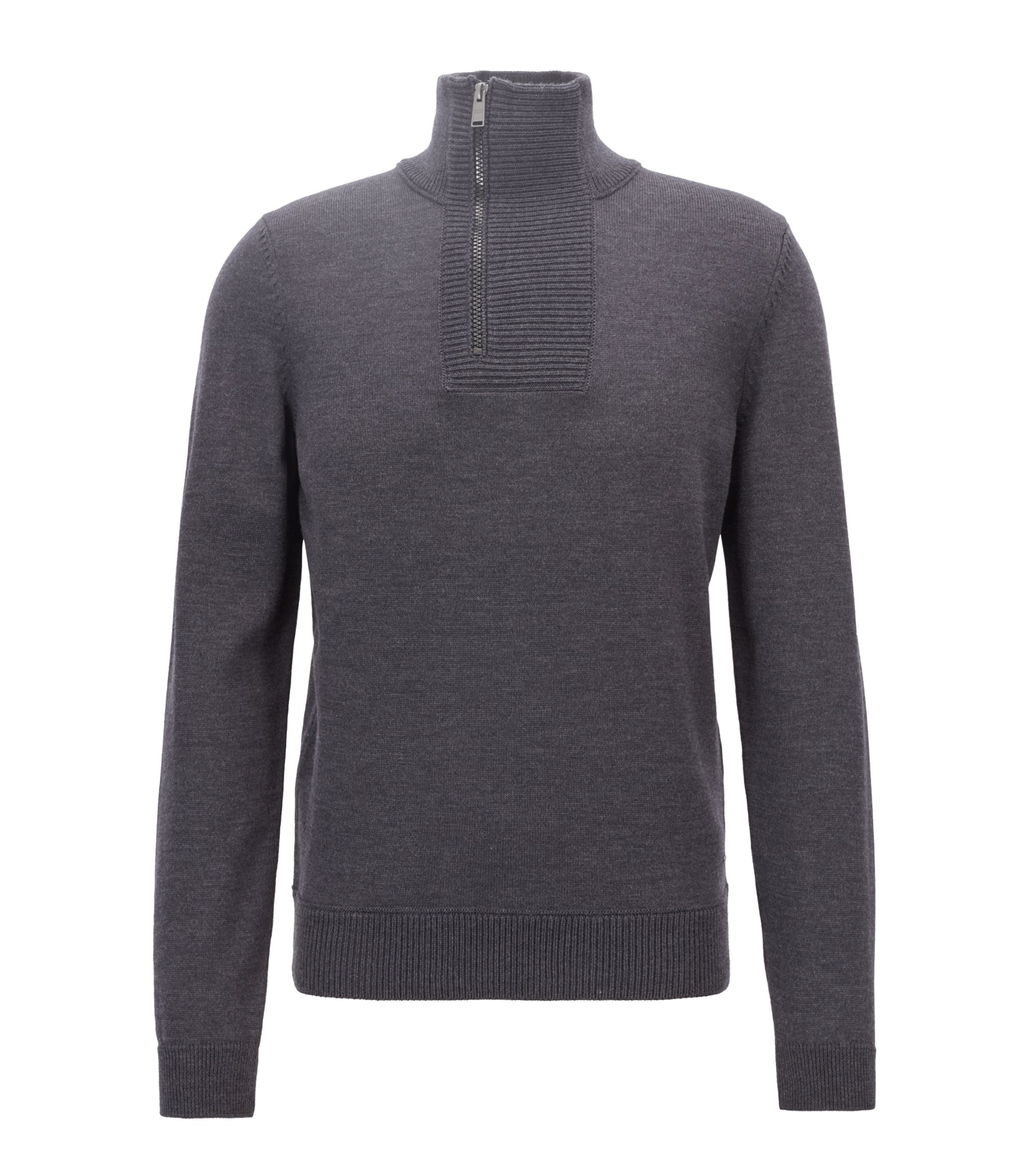 Troyer-inspired sweater in merino wool with zipper neck, Open Grey