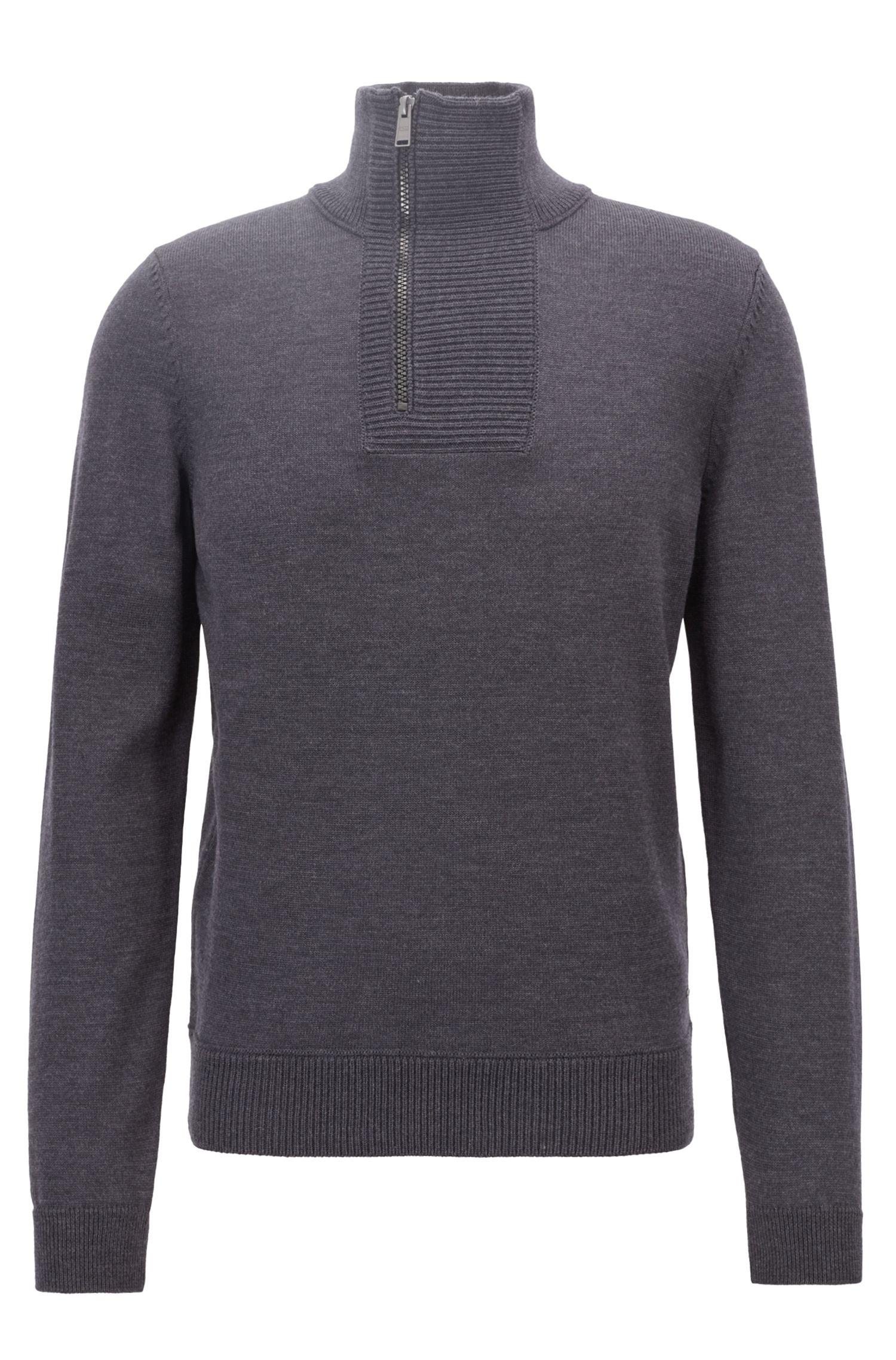 Troyer-inspired sweater in merino wool with zipper neck, Open Grey