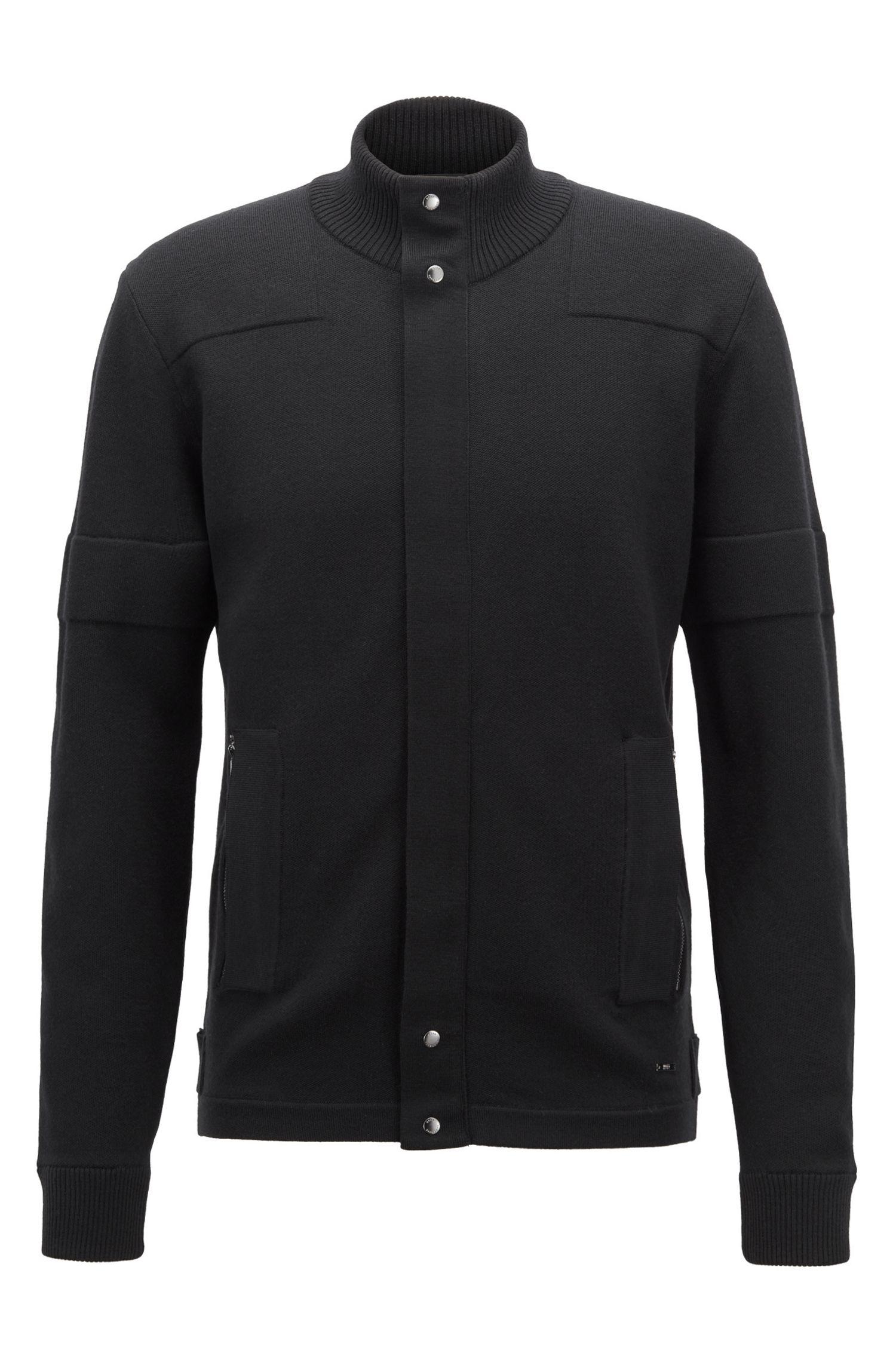 Biker-inspired knitted cardigan in Italian merino wool, Black