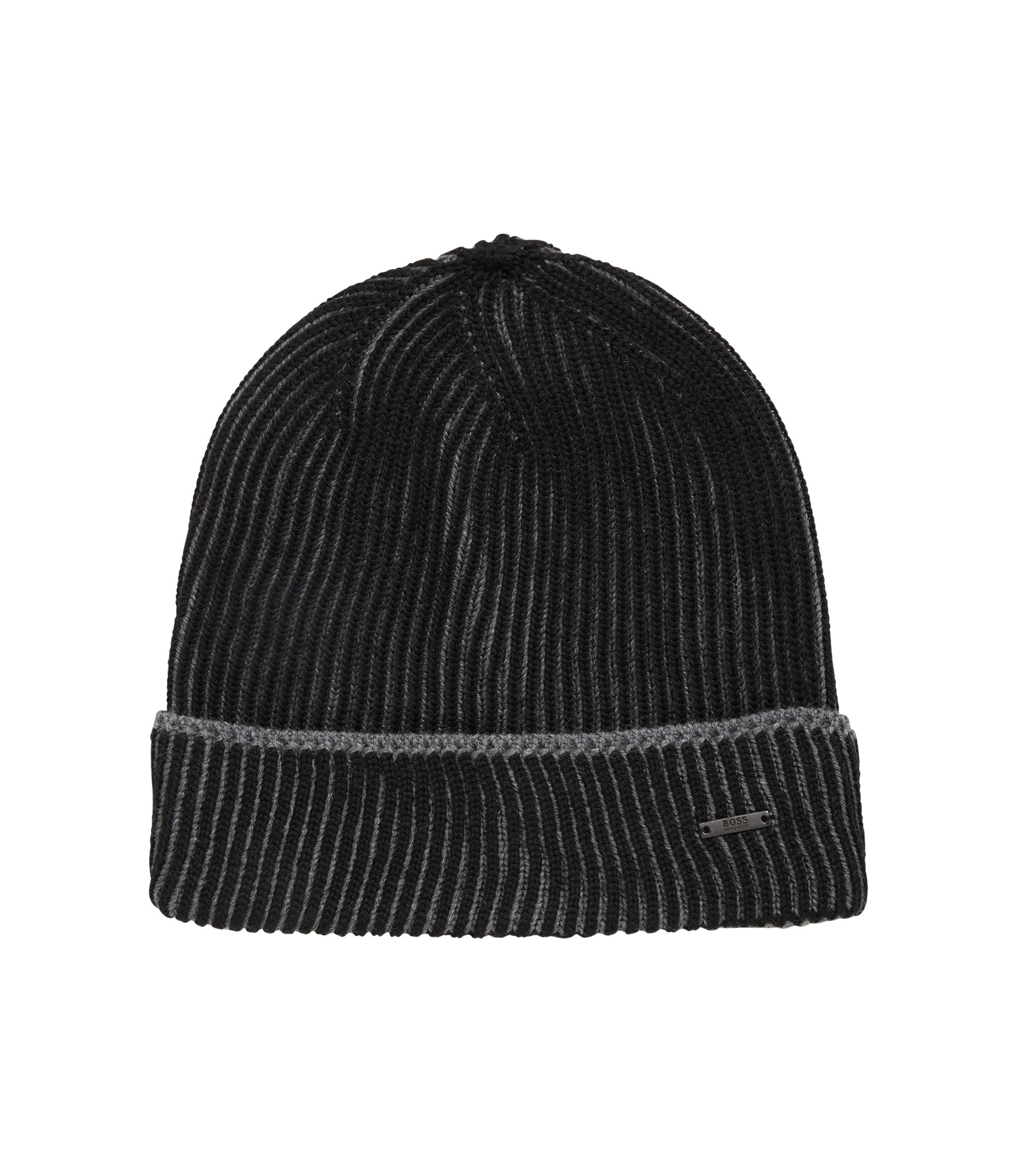Knitted beanie hat in two-tone virgin wool, Black