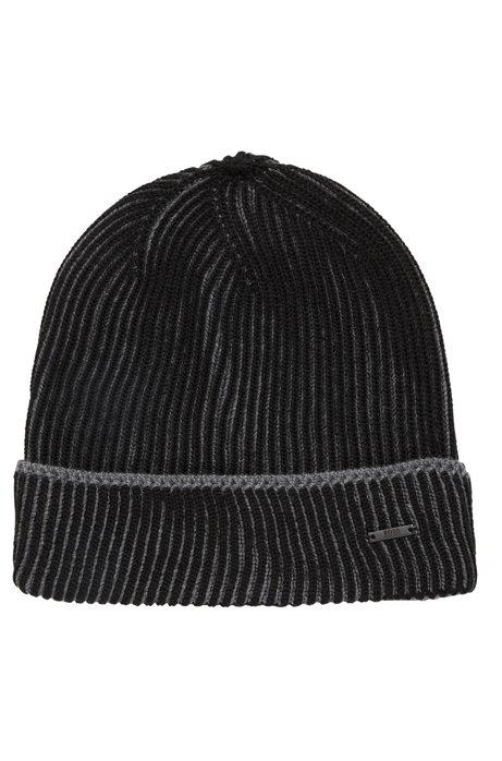 3ef9d8e7f653b BOSS - Knitted beanie hat in two-tone virgin wool