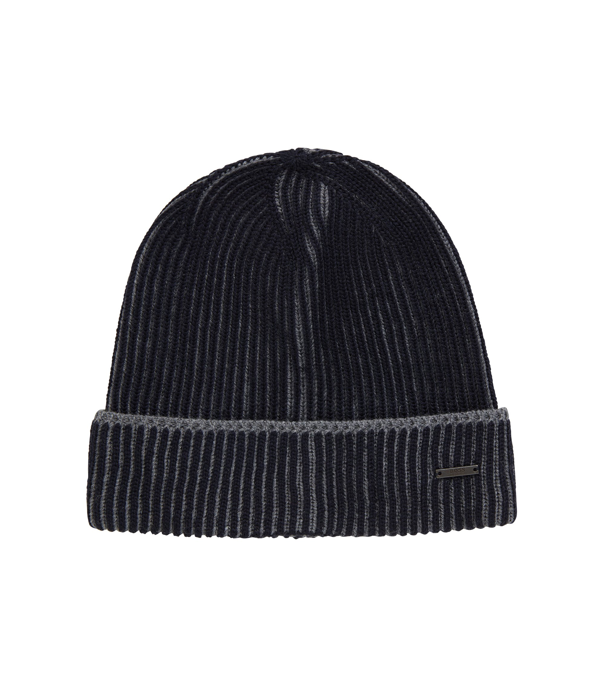 Knitted beanie hat in two-tone virgin wool, Open Blue