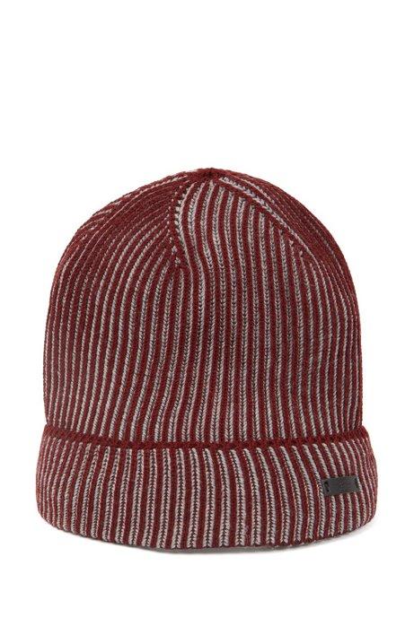 Knitted beanie hat in two-tone virgin wool, Dark Red