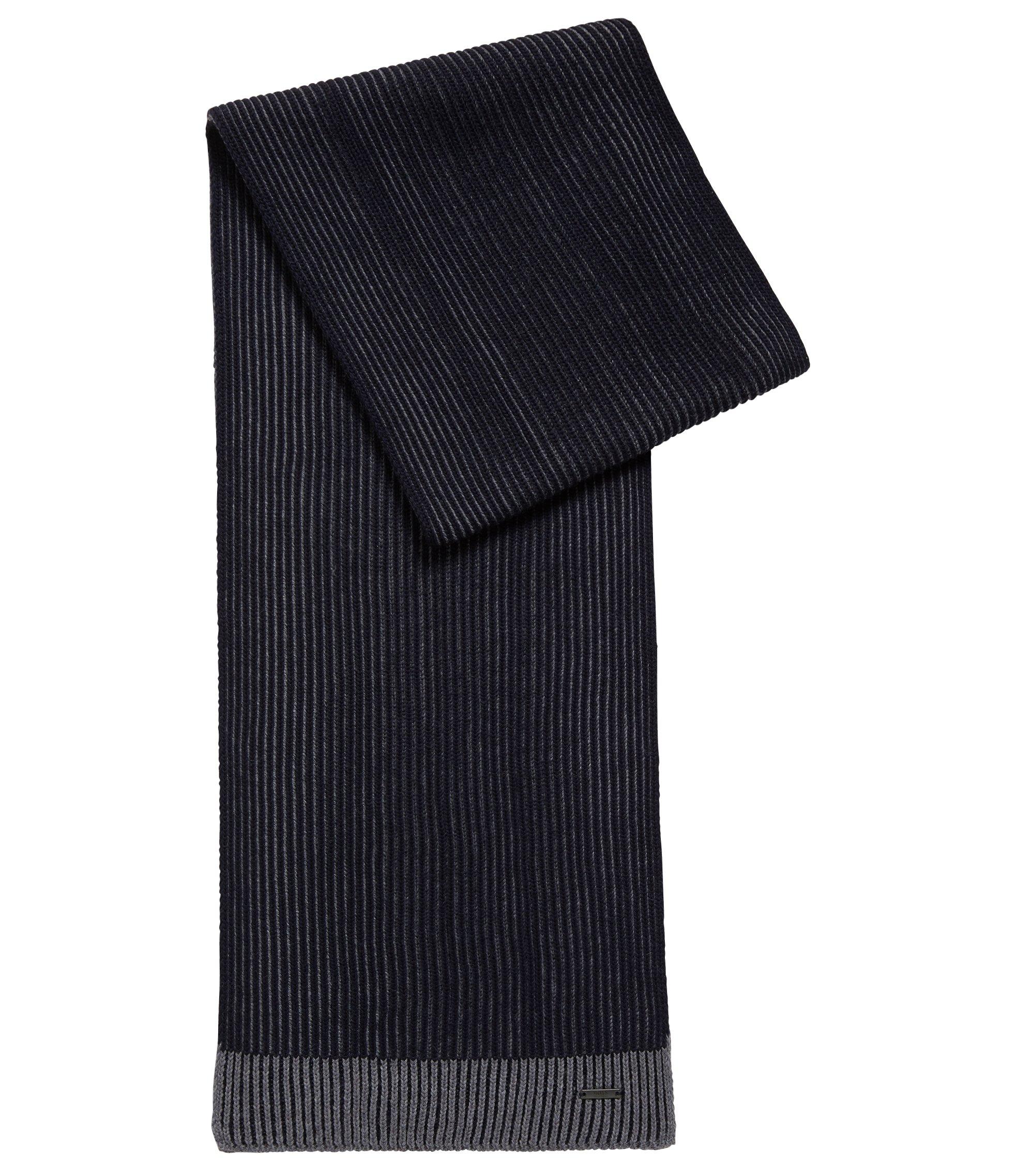 Knitted scarf in two-tone virgin wool, Open Blue