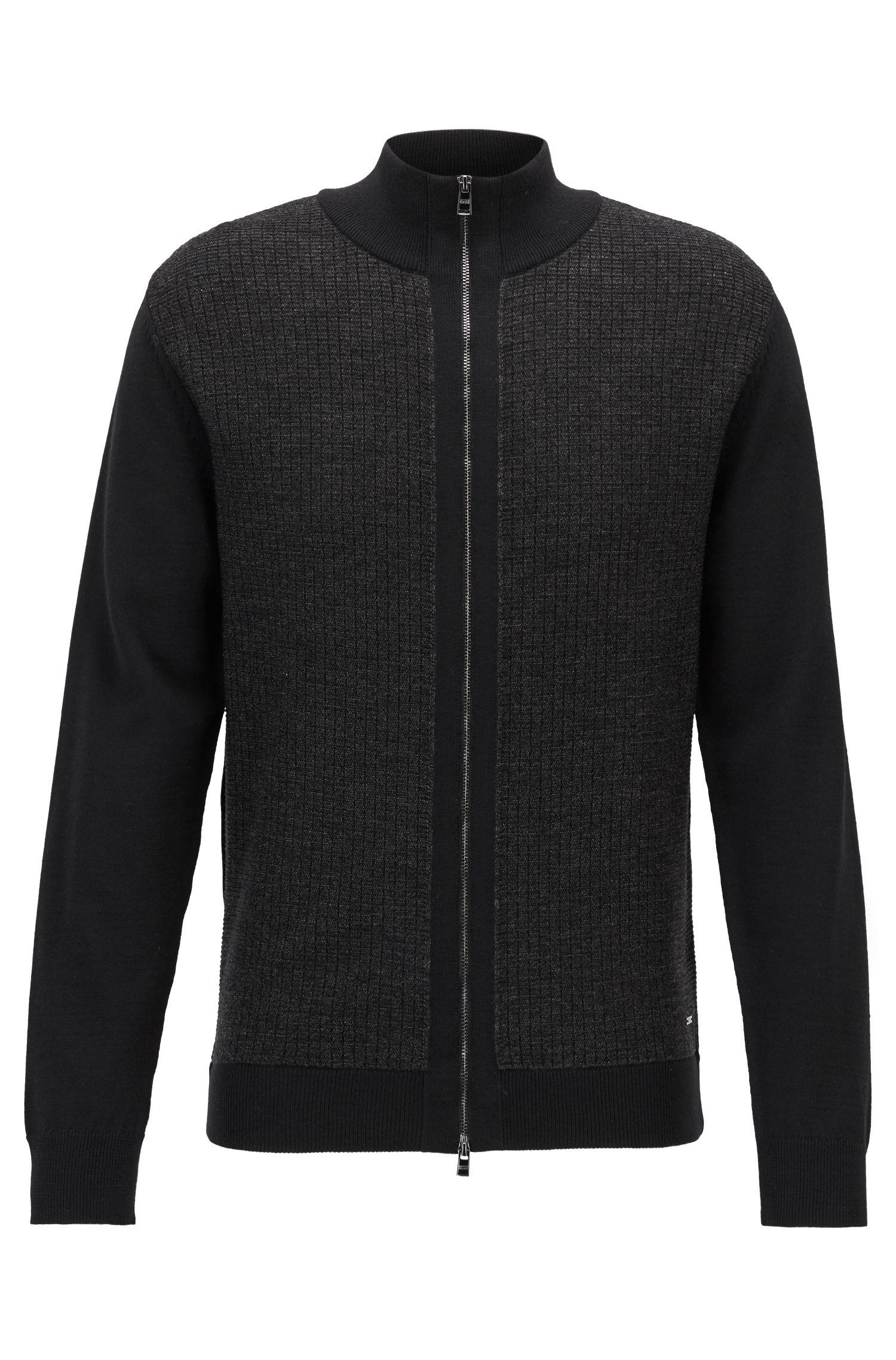 Regular-fit zippered cardigan in Italian merino wool, Black