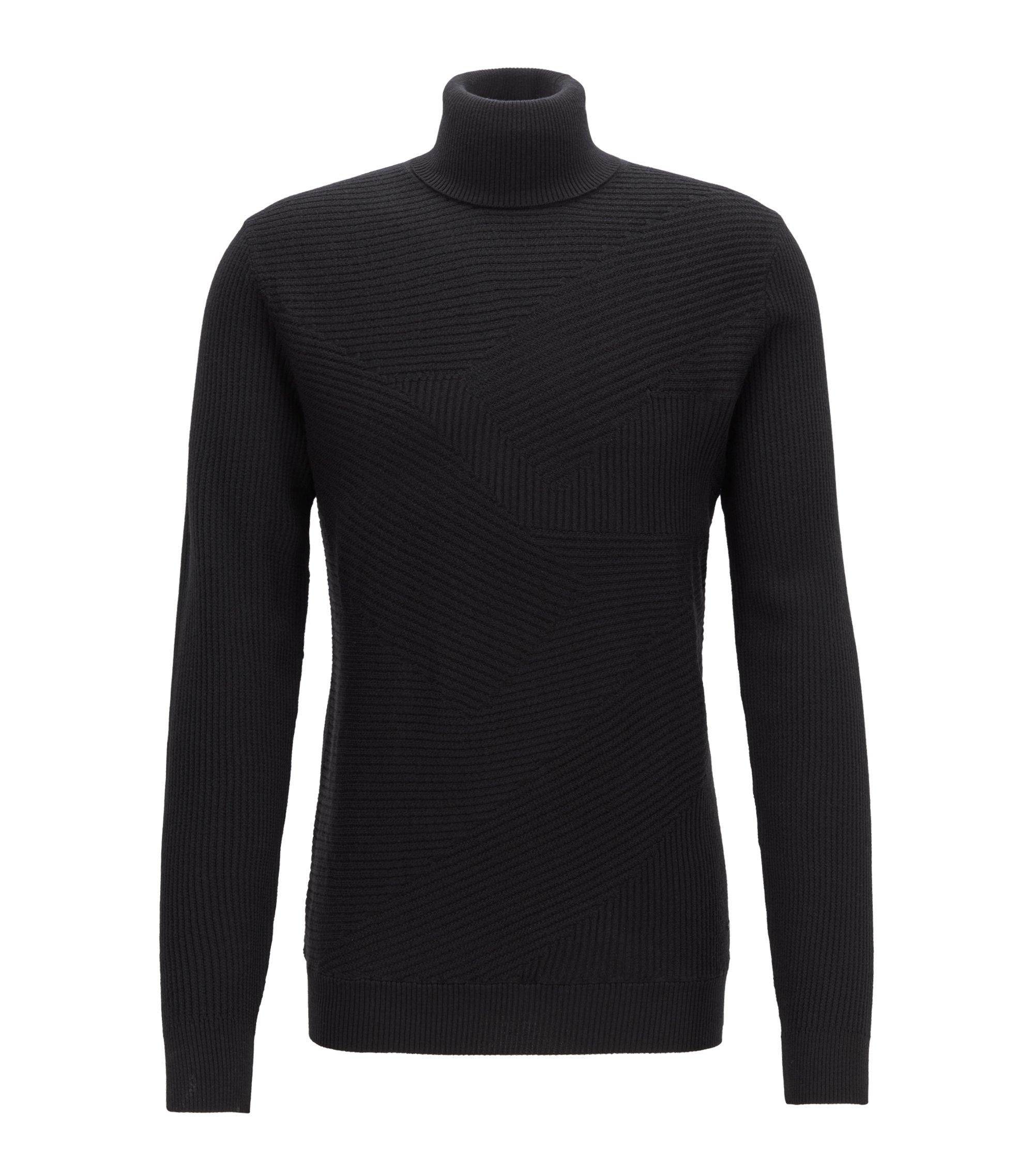Turtleneck sweater in Italian merino wool with rib patterns, Black