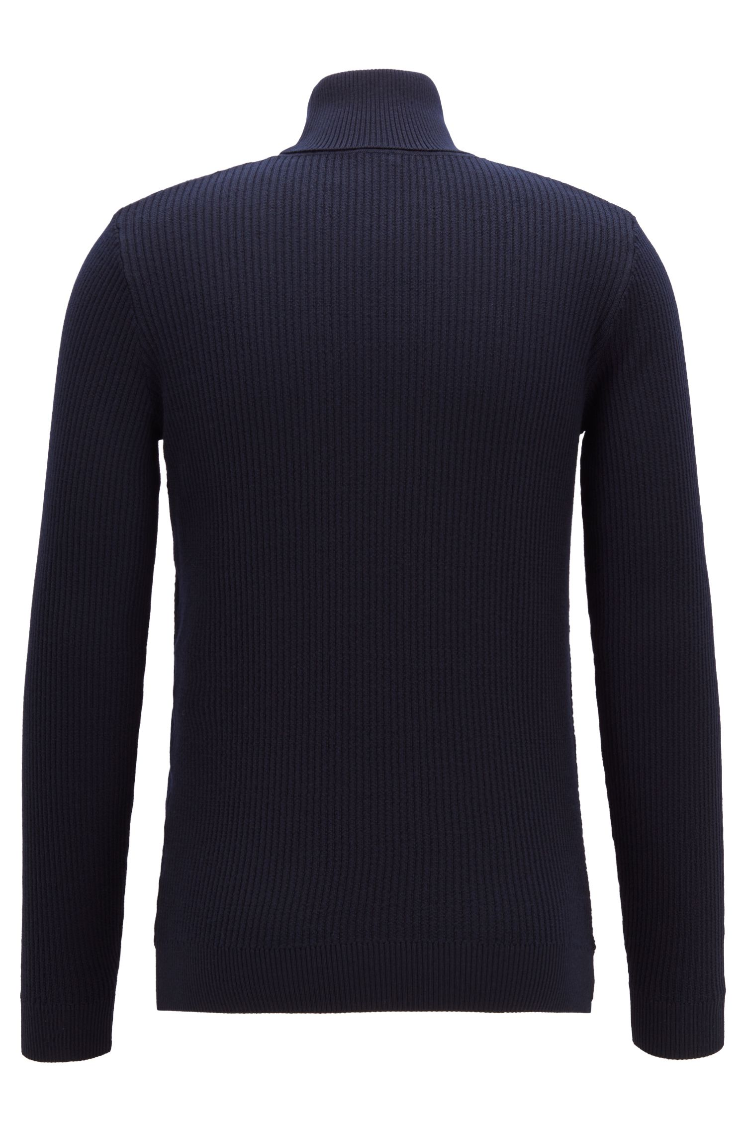 Turtleneck sweater in Italian merino wool with rib patterns, Open Blue