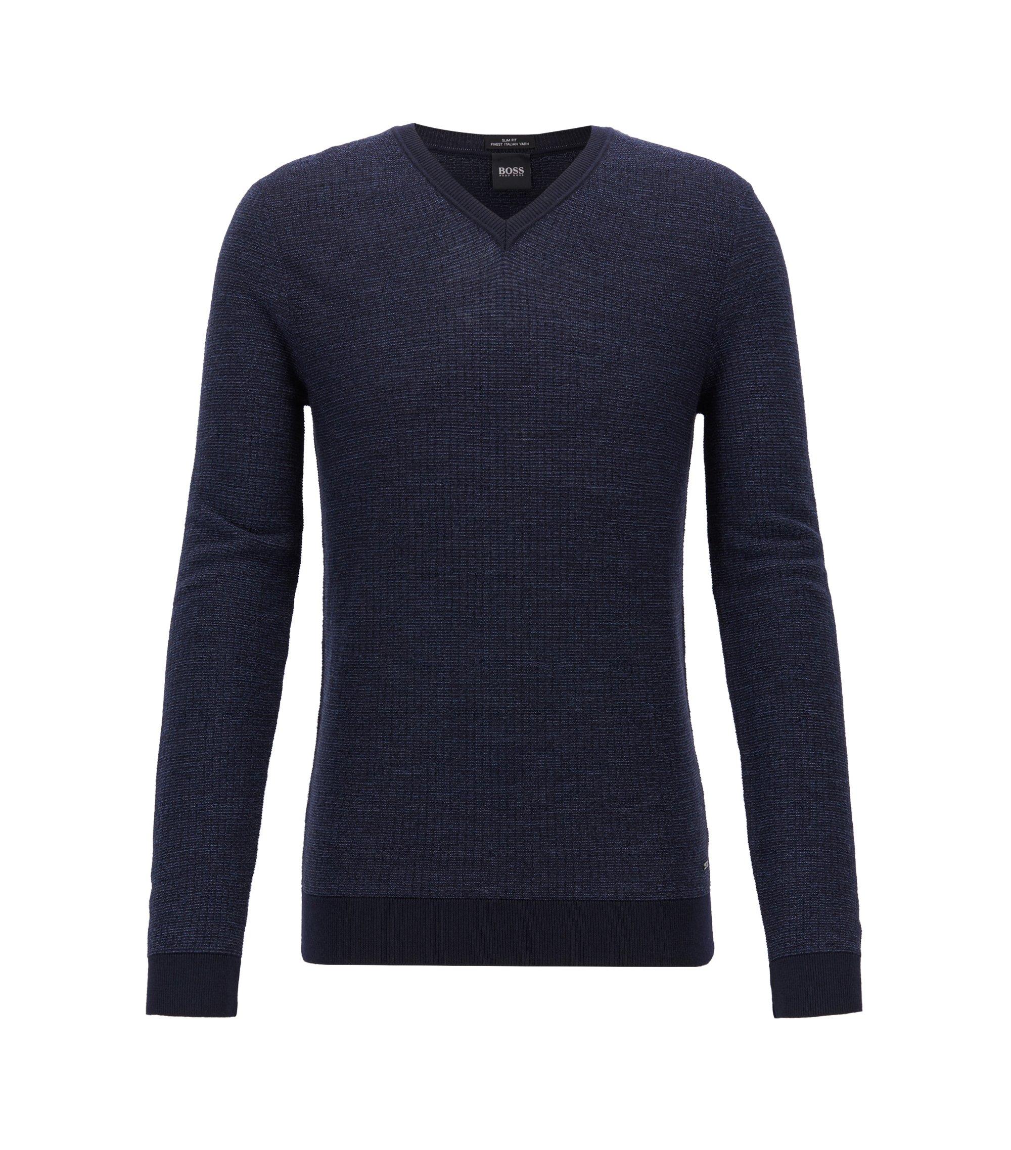 Slim-fit sweater in extra-fine Italian merino wool, Open Blue