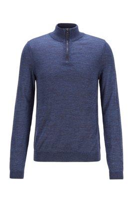 Zip-neck sweater in Italian virgin wool, Dark Blue