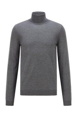 Turtleneck sweater in extra-fine Italian merino wool, Grey