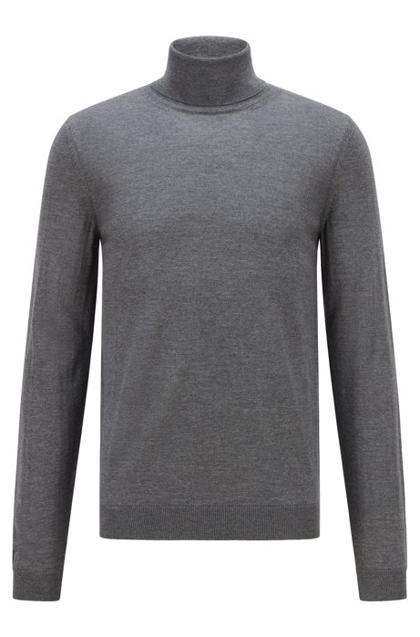 Turtleneck sweater in extra-fine Italian merino wool, Grey