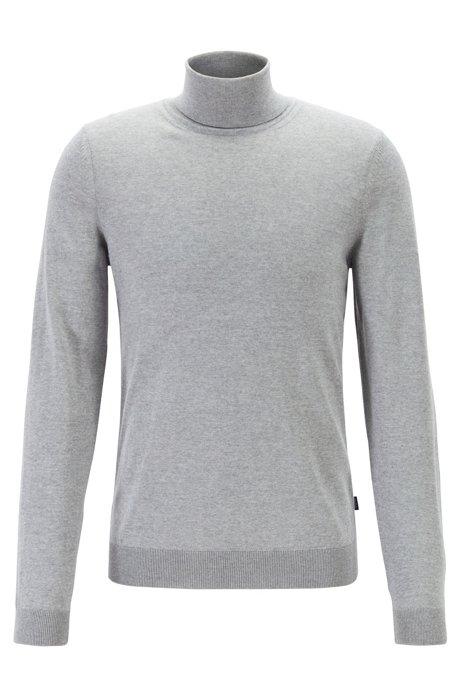 Turtleneck sweater in extra-fine Italian merino wool, Silver