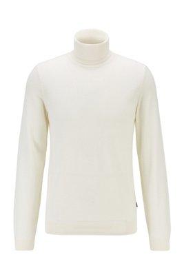 Turtleneck sweater in extra-fine Italian merino wool, White