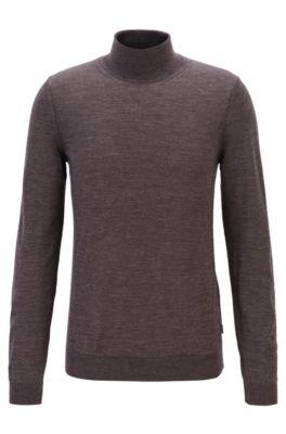 Turtleneck sweater in extra-fine Italian merino wool, Dark Brown