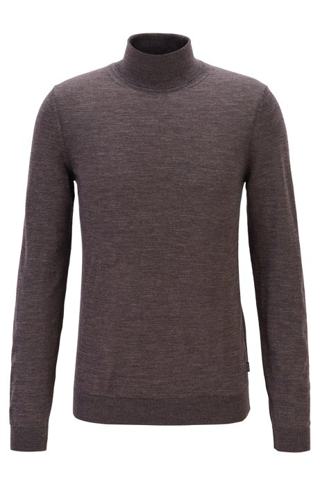 Turtleneck sweater in extra-fine Italian merino wool, Dark Brown