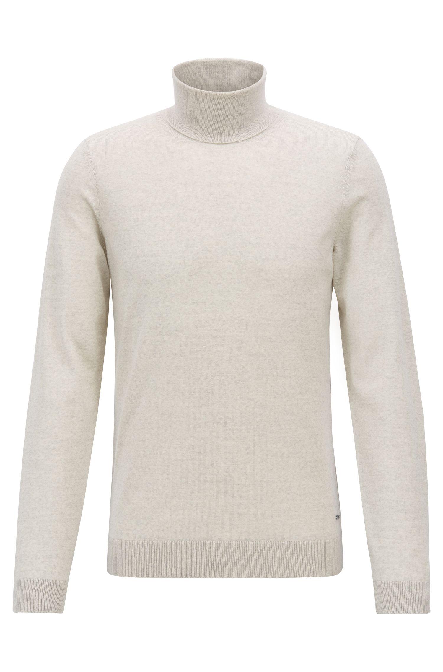 Turtleneck sweater in extra-fine Italian merino wool, Light Beige