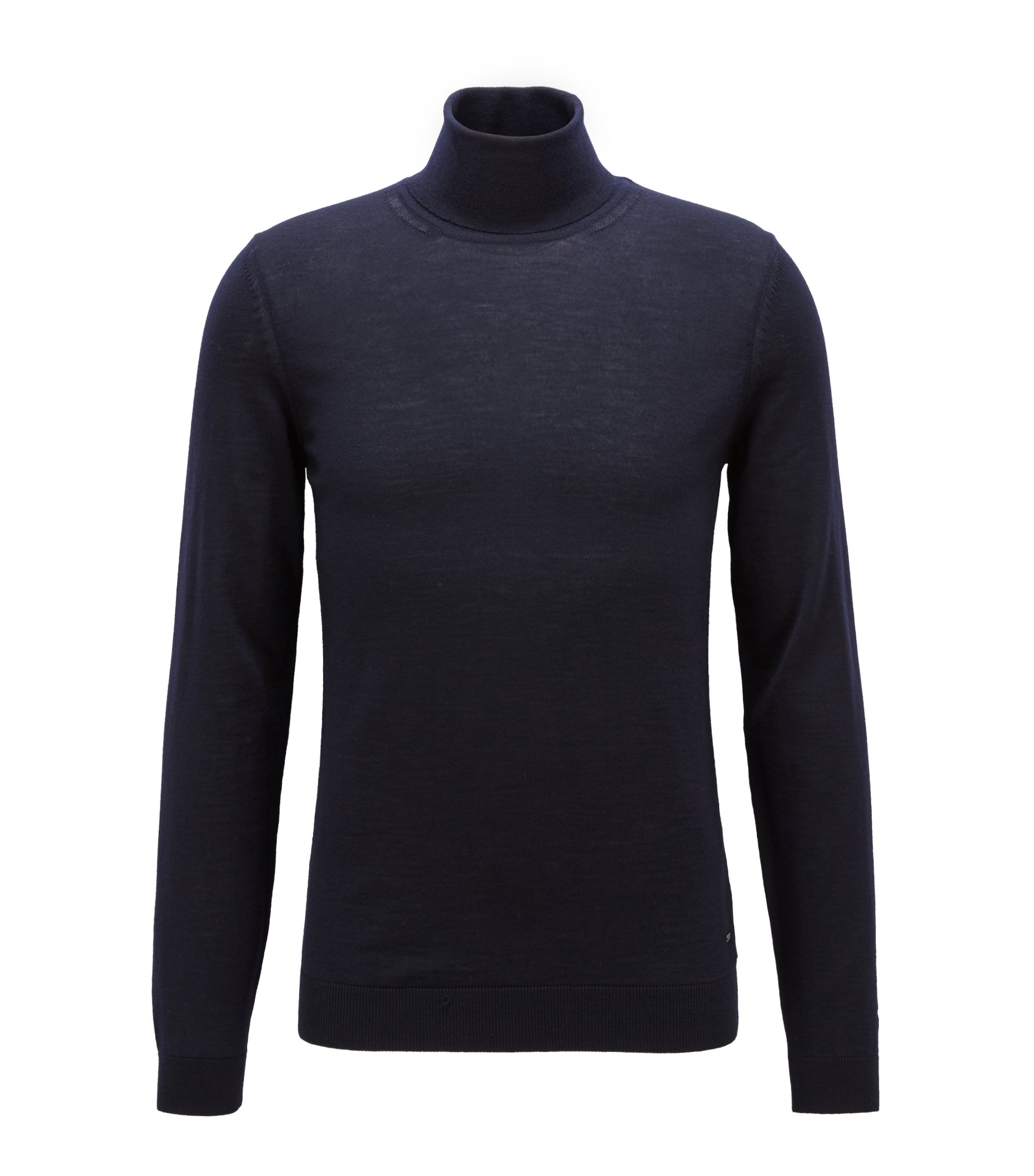 Turtleneck sweater in extra-fine Italian merino wool, Open Blue