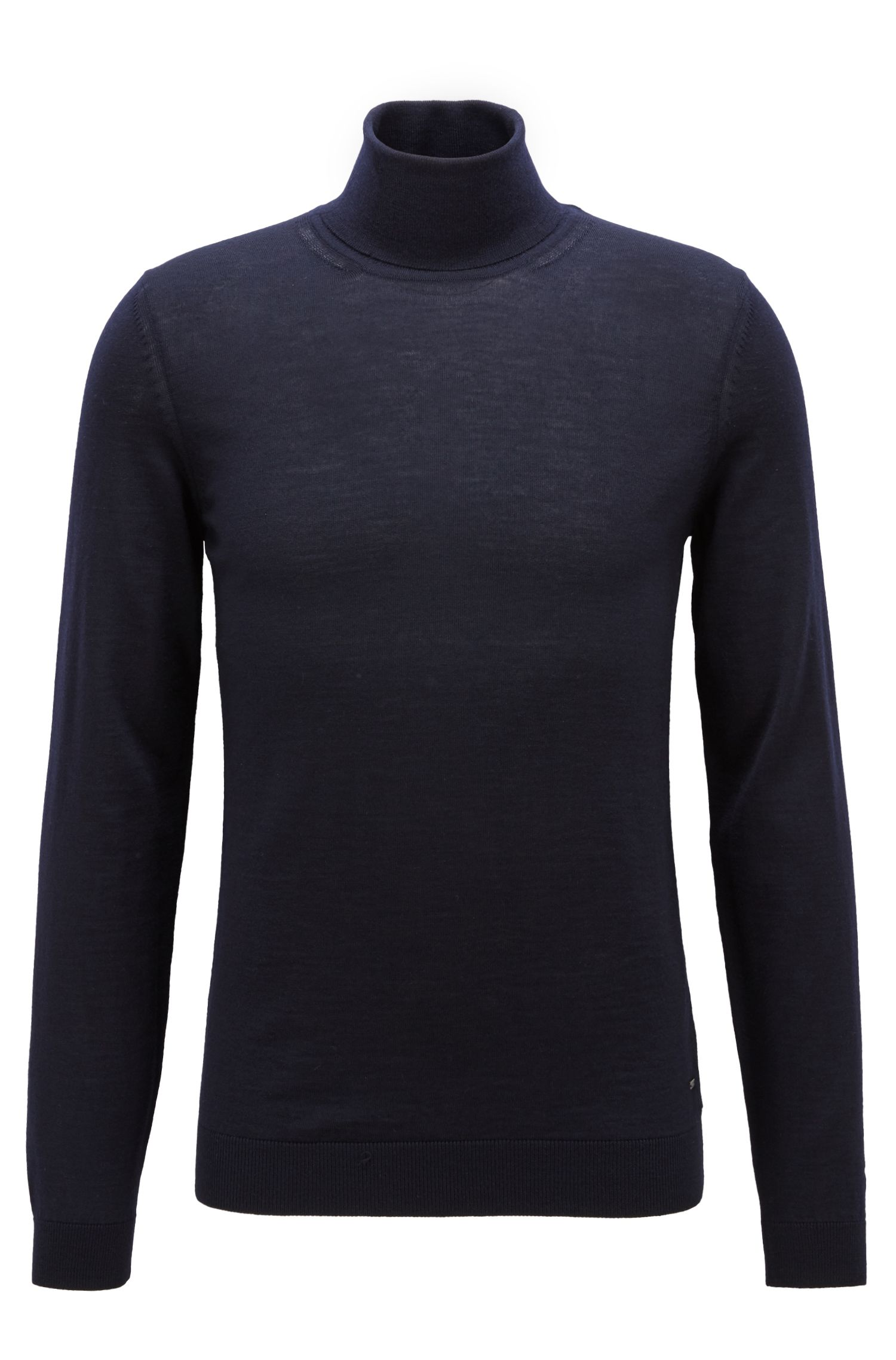 Turtleneck sweater in extra-fine Italian merino wool, Open Blue