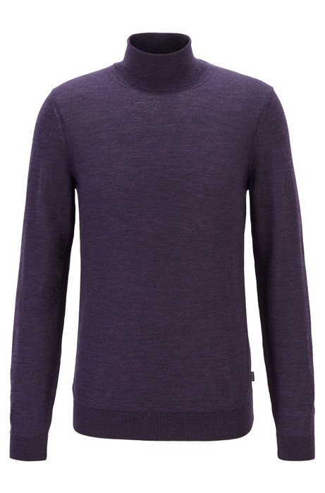 Turtleneck sweater in extra-fine Italian merino wool, Dark Purple