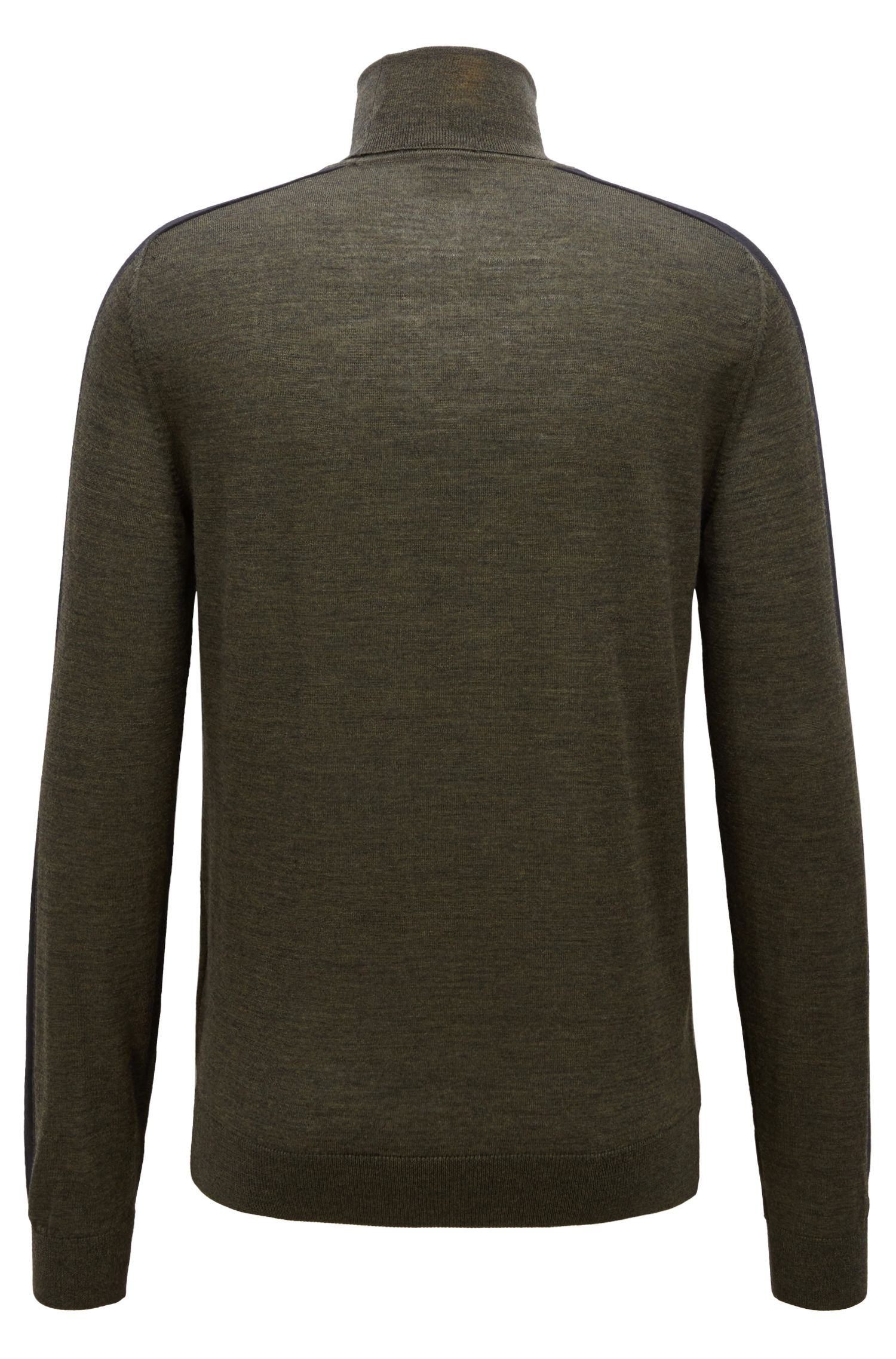 Turtleneck sweater in Italian merino wool with color-blocking, Open Green