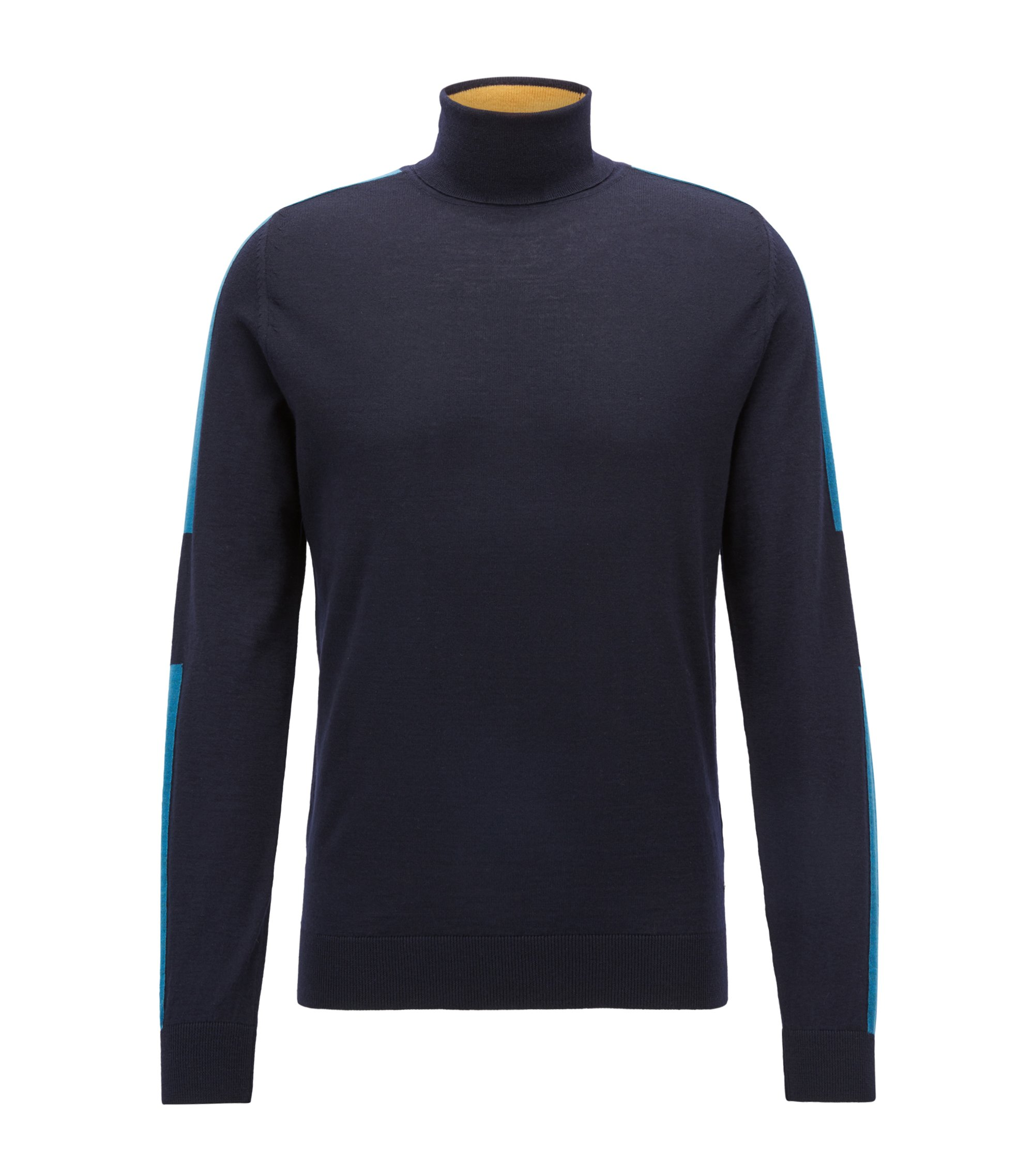 Turtleneck sweater in Italian merino wool with color-blocking, Open Blue